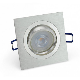 Inbouwspot – GU10 - 5.5W – 3000K – Vierkant Zilver