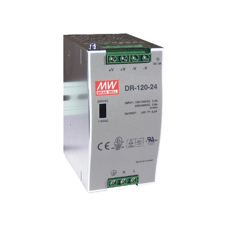 Gordijn 24VDC DIN-rail voeding 5A