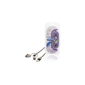 3-in-1 Data en Oplaadkabel USB A Male - Micro-B Male 1.00 m Zwart