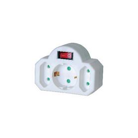 Stopcontact Splitter Aan / Uit-Schakelaar 1 x Schuko / 2 x Euro Wit