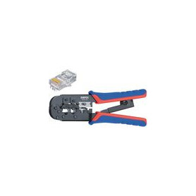 Crimp lever pliers for Western plugs Western connector RJ11/12 (6-pin) 9.65 mm, RJ45 (8-pin)11.68 mm