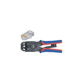 Crimp lever pliers for Western plugs Western connector RJ10 (4-pin) 7.65 mm, RJ11/12 (6-pin) 9.65 mm, RJ45 (8-pin) 11.68 mm