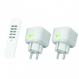 Set Compacte Stopcontact Dimmers (met 2 x dimmer led, halogeen, gloei) ACC2-250R