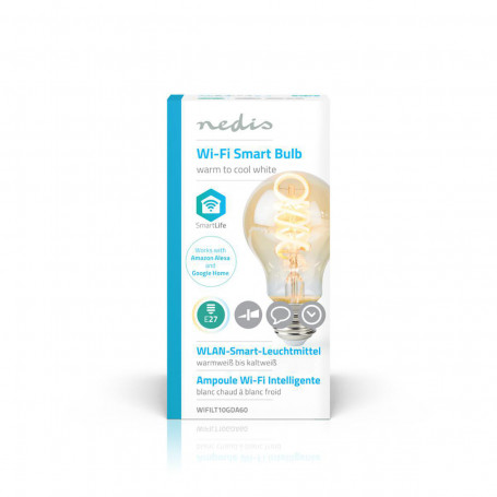 Nedis Wi-Fi Smart bulb, Warm tot Koel Wit LED Filamentlamp
