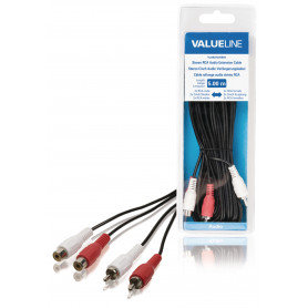 Stereo Audio Verlengkabel 2x RCA Male - 2x RCA Female 5.00 m Zwart